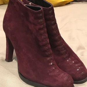 LK Bennett Eggplant Color Suede Ankle Boots